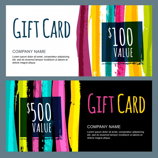 Colorful Gift Cards Vector (8 файлов)