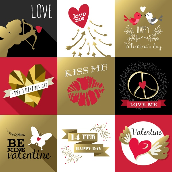 Valentines day card Gold (13 файлов)