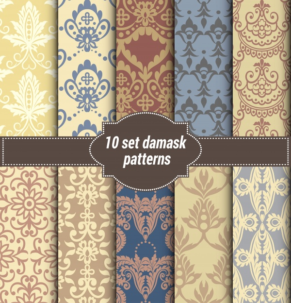 Collection Damask flower patterns (10 файлов)