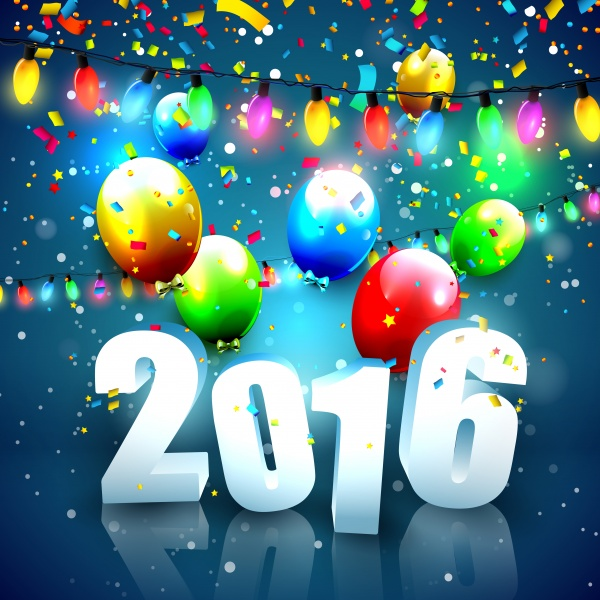 Happy New Year with balloons 2016 (10 файлов)