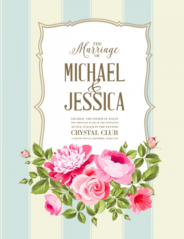 Elegant Wedding Invitations with Flowers Vector (12 файлов)