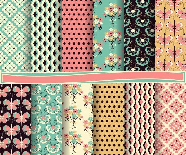 Seamless patterns for wallpapers design - 137x EPS #6 (20 файлов)