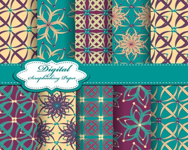 Seamless patterns for wallpapers design - 137x EPS #8 (24 файлов)