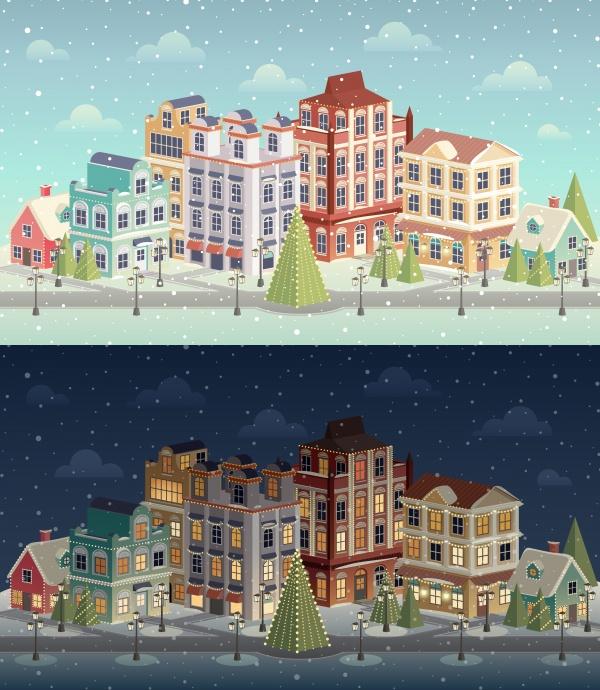 Новогодние векторные фоны с зимней природой (12 файлов)