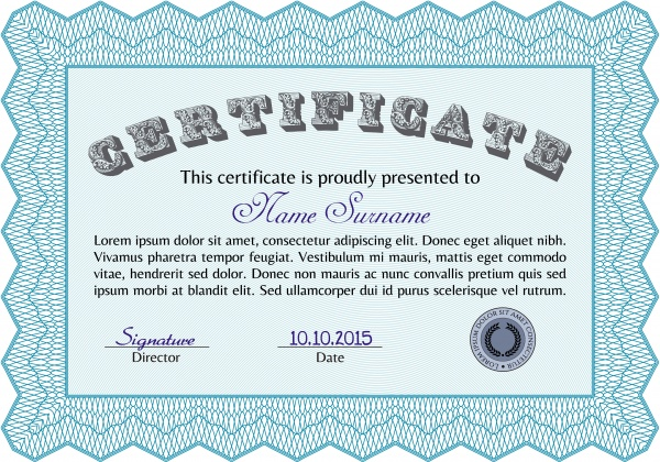 Сертификат и диплом | Certificate and diploma. With guilloche pattern and background #3 (18 файлов)