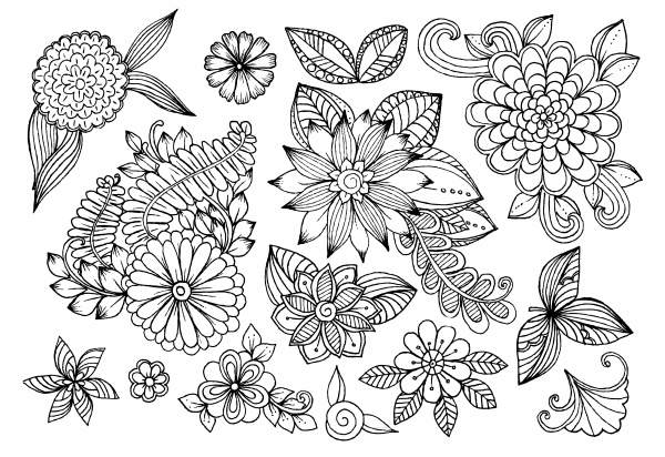 Цветочные узоры | Flower pattern Background. White and black floral doodles (51 файлов)