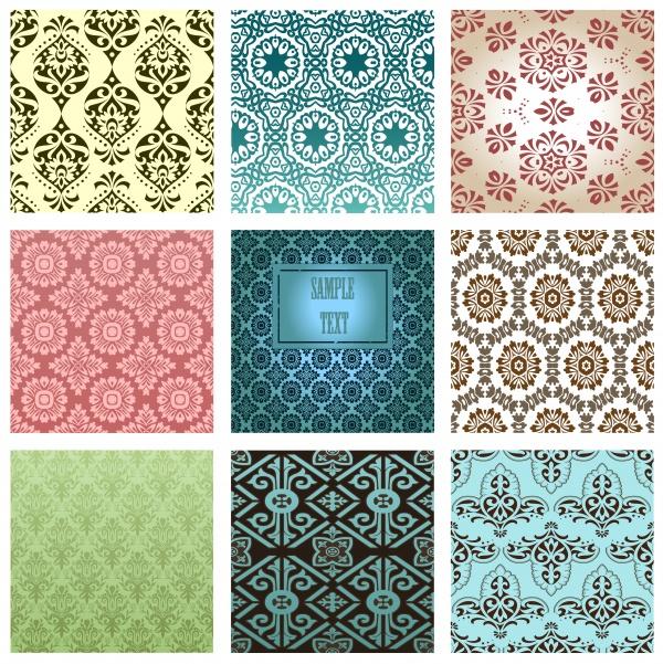 Бесшовные винтажные фоны с узорами | Seamless pattern vintage vector background #1 (17 файлов)