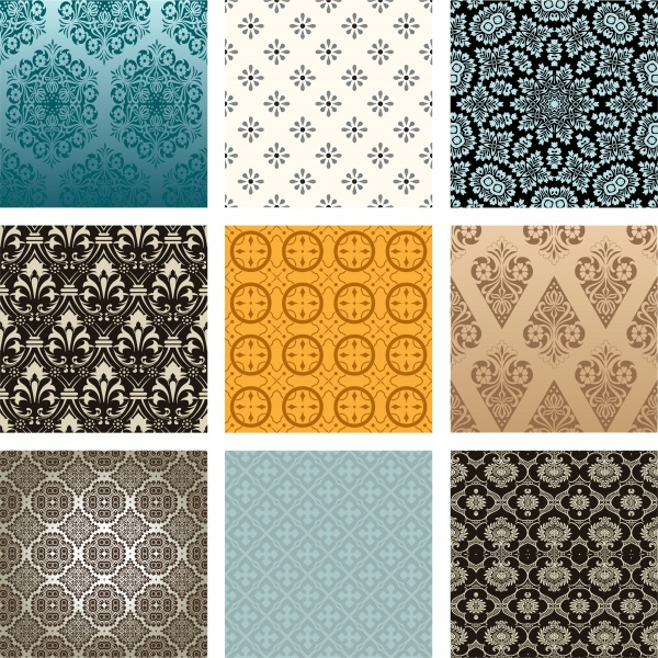 Бесшовные винтажные фоны с узорами | Seamless pattern vintage vector background #3 (10 файлов)