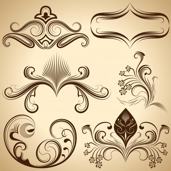 Vintage floral design element (6 файлов)