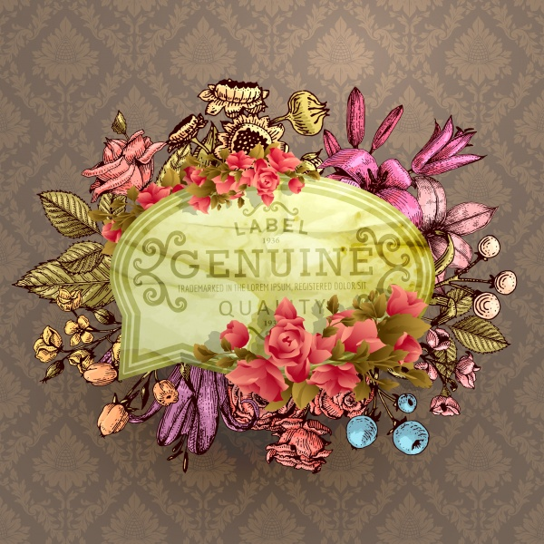 Vintage Vector Card with Engraving Flowers. Frame for Logo, Label. Retro Floral Design. Roses, Leaves, Lilies, Tulips and other Flowers (51 файлов)