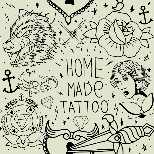 Tattoo seamless pattern (20 файлов)