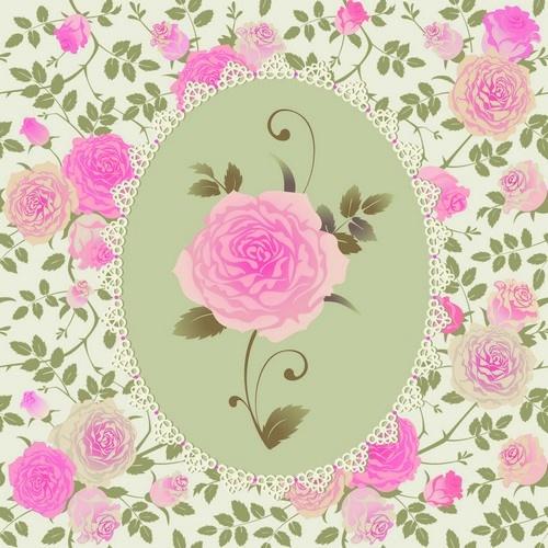 Vector Pink Roses Patterns Розовые росчерки (12 файлов)