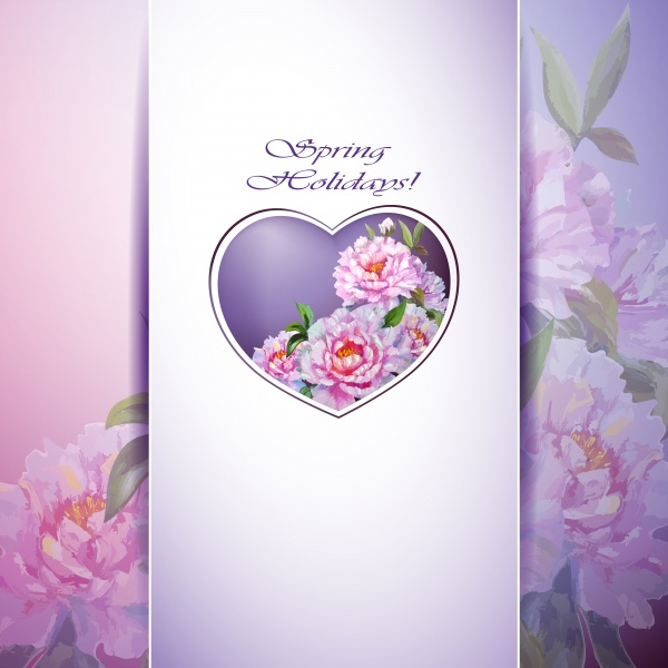 Flowers Backgrounds. Spring flowers invitation template card #1 (17 файлов)