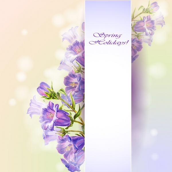 Flowers Backgrounds. Spring flowers invitation template card #2 (16 файлов)