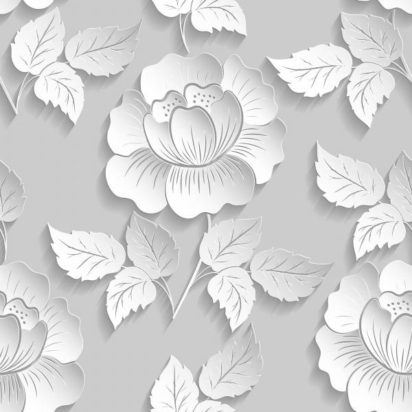 Векторные цветочные безшовные паттерны | Vector Flower Seamless Patterns. Paper cut #1 (27 файлов)
