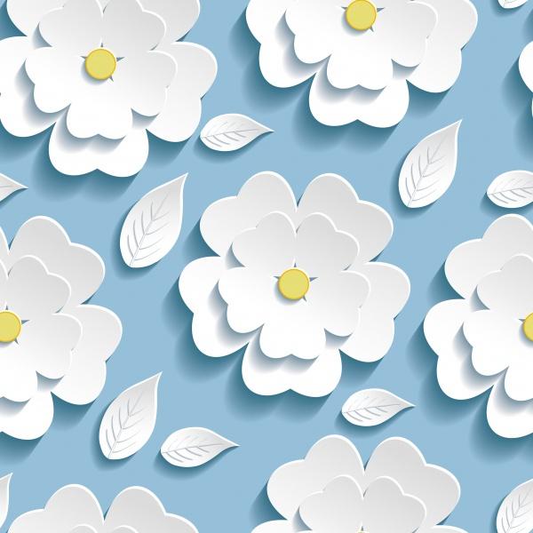 Векторные цветочные безшовные паттерны | Vector Flower Seamless Patterns. Paper cut #2 (24 файлов)
