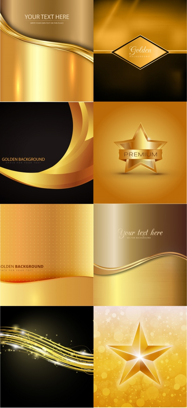 Gold stylish backgrounds vector graphics #1 (13 файлов)
