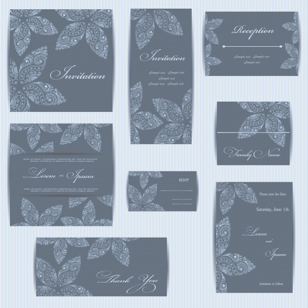 Приглашения с цветами и орнаментами / Invitation with flowers and ornaments - vector (10 файлов)