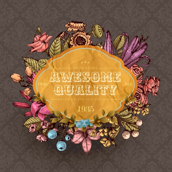 Vintage vector card, retro floral design (16 файлов)