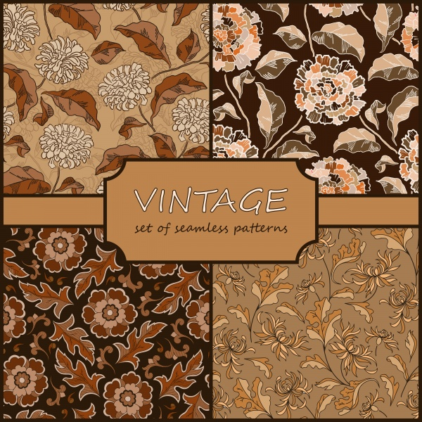 Seamless vintage floral background collection (10 файлов)