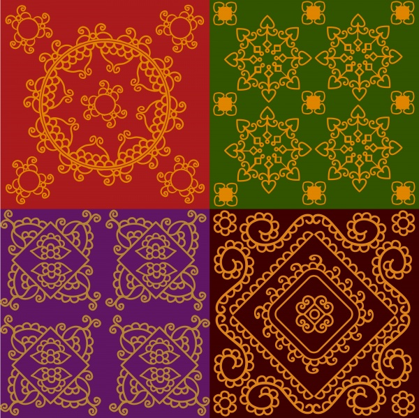 Colorful indian henna mandala pattern (14 файлов)