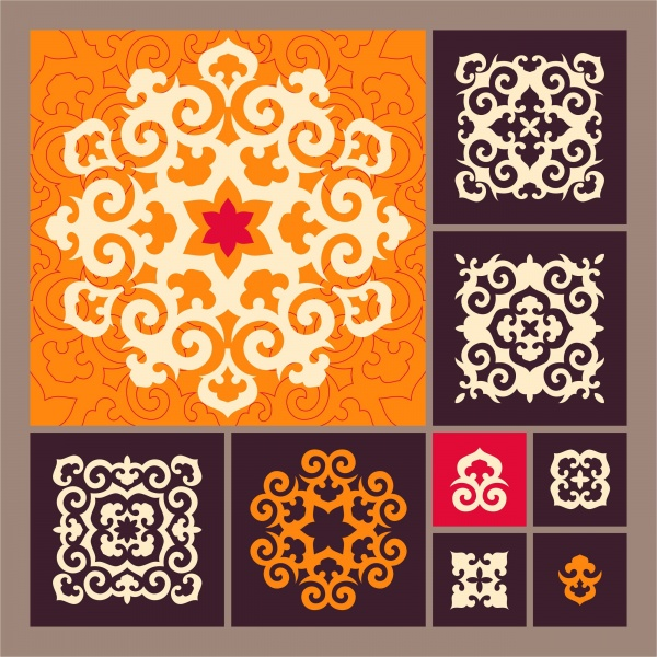 Set of ornamental elements in oriental style (13 файлов)