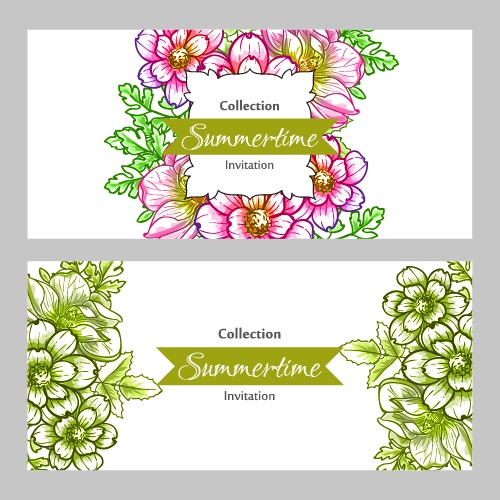 Summertime collection. Romantic botanical invitation. Greeting card with floral background (20 файлов)