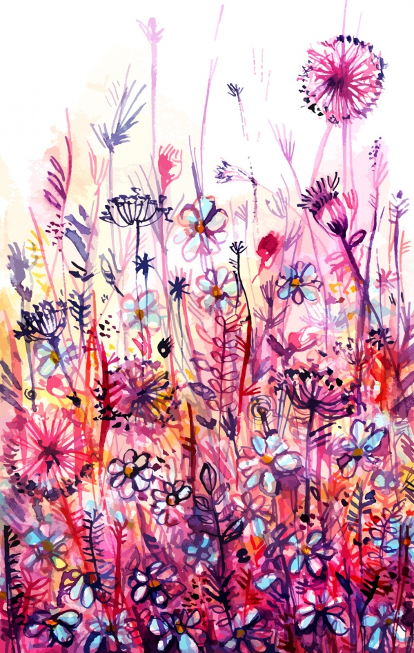 Watercolor background vector illustration, 15 x EPS #2 (14 файлов)