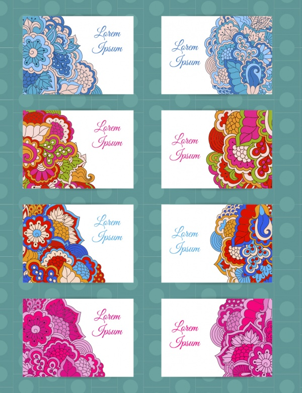 Colorful Backgrounds Floral Elements Templates for Flyers & Cards (46 файлов)