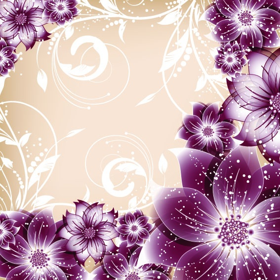 Romantic vector background with flowers #1 (57 файлов)