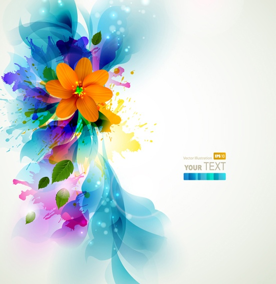 Romantic vector background with flowers #2 (50 файлов)
