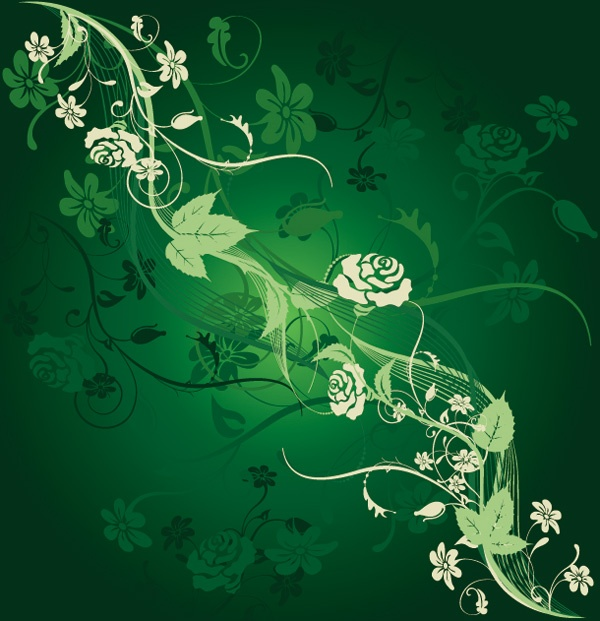 Romantic vector background with flowers #3 (64 файлов)
