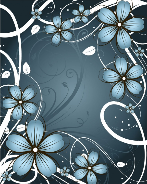 Romantic vector background with flowers #4 (53 файлов)