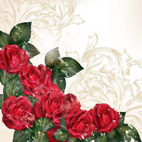 Romantic vector background with flowers #5 (51 файлов)