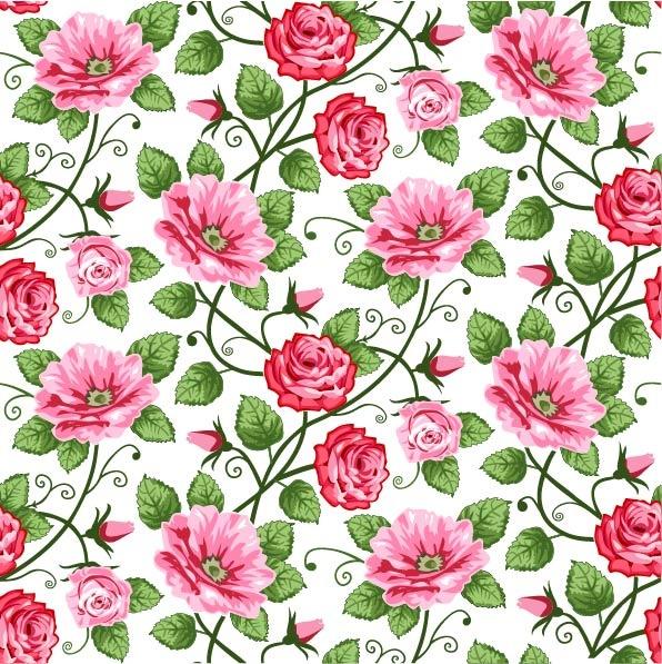 Vector Retro Flowers Seamless Textures #1 Цветочные текстуры #1 (50 файлов)