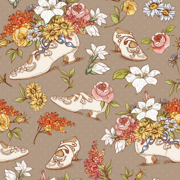 Винтажные паттерны с цветами | Vintage flowers patterns 2 (16 файлов)