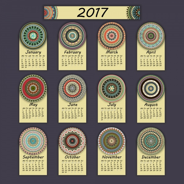 Calendar 2017, vintage decorative colorful elements (20 файлов)