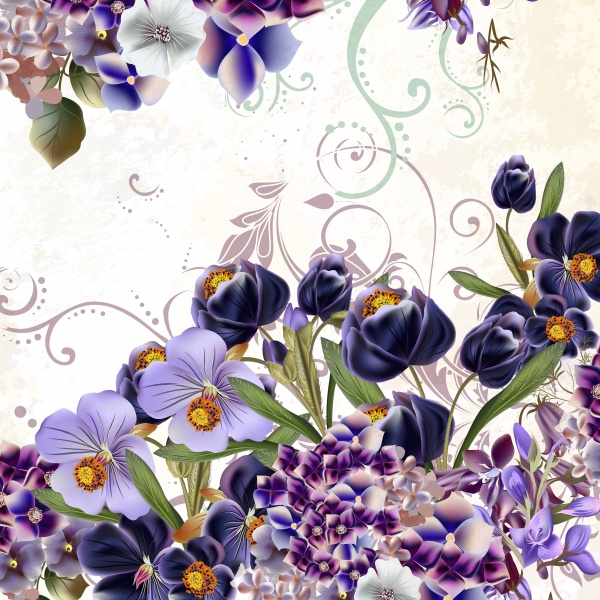 Floral vector illustration with flowers in watercolor style (14 файлов)
