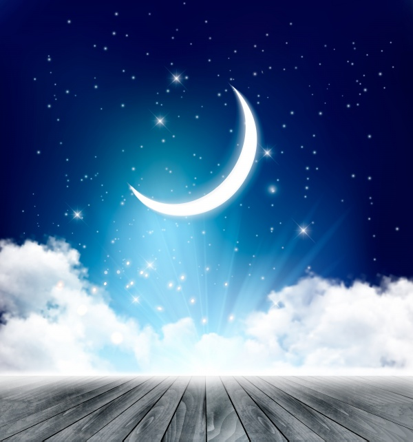 Night sky background with with crescent moon, clouds and stars (14 файлов)