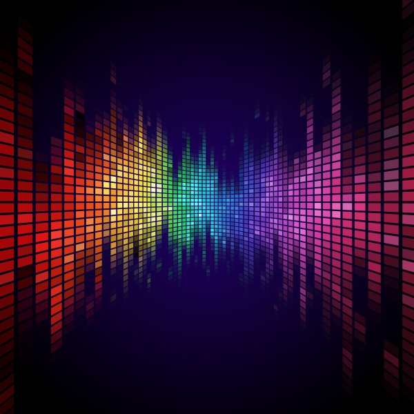 Rainbow colored digital equalizer abstract background (21 файлов)
