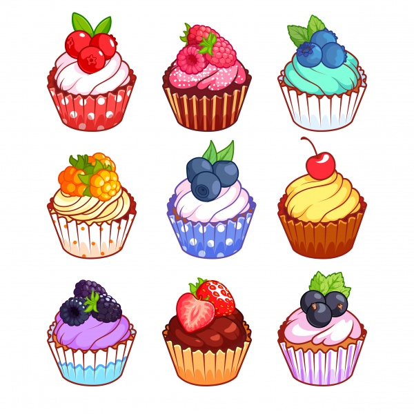 Set of cupcakes with different berries, food menu (18 файлов)