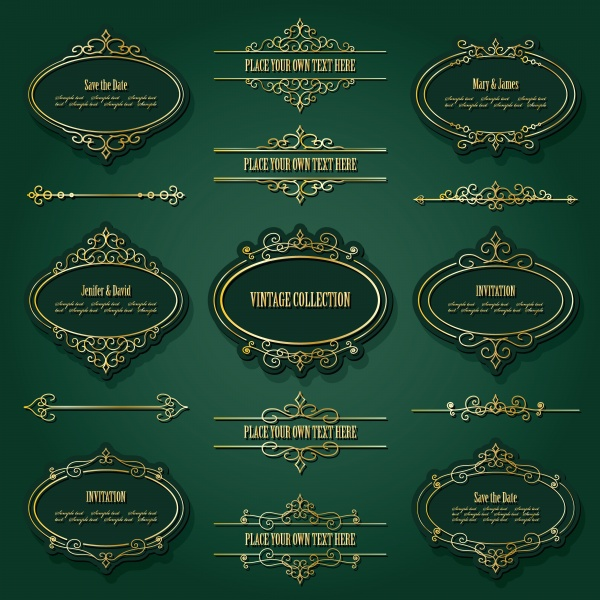 Vintage golden frames, labels and dividers set, luxury design (18 файлов)