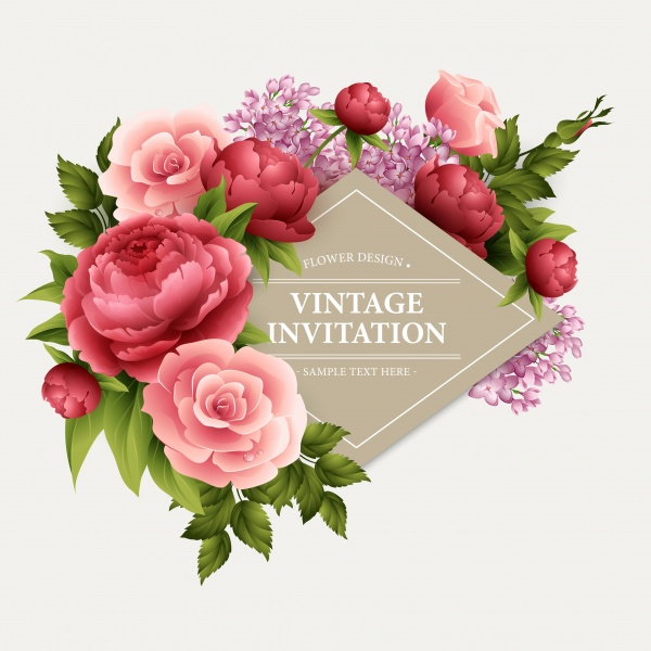 Vintage Floral Invitations Vector 7