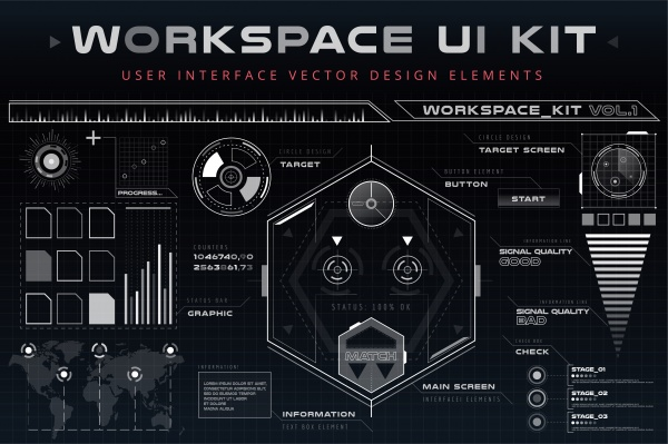 Futuristic HUD Background. Modern GUI warfare. Infographics HUD #1
