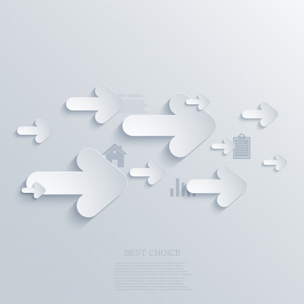 Paper Design Elements. Flower, electronic numbers, bubble speech, infographic, film icon, arrows background