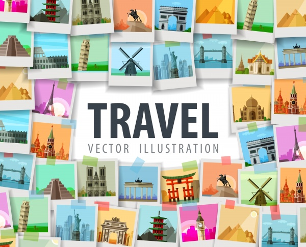 Travel Memories Cards Vector