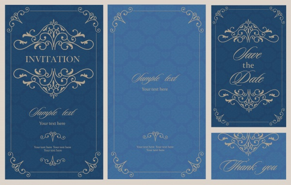 Vintage Floral Invitations Vector 6
