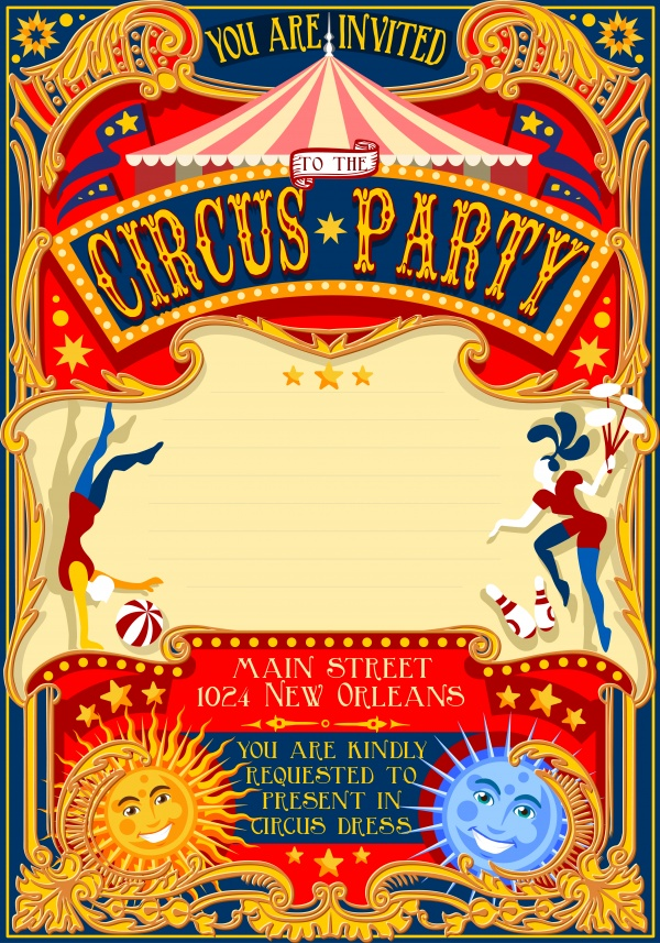 Circus Invitations Vector (8 файлов)