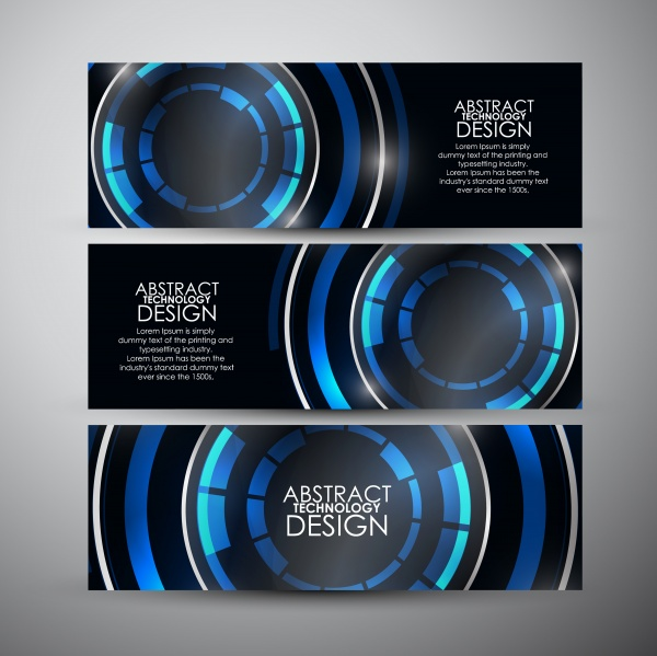 Abstract Techno Banners Vector (8 файлов)