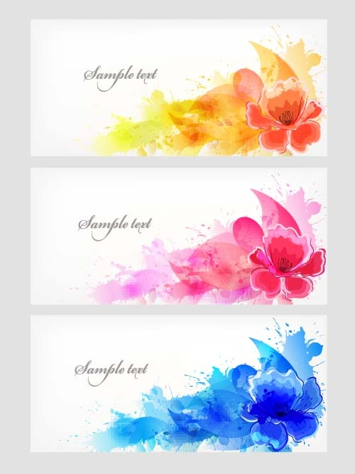 Background with colorful floral elements 5x EPS (10 файлов)